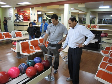 Kamal & Marco setting up the bowling terminal