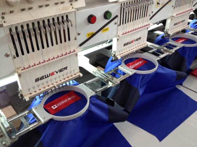 Embroidery machines in the textile factory