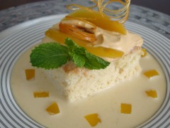 Cake soaked in three types of milk and served in a sweet milk sauce