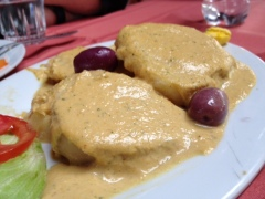 Ocopa is potatoes served in an amazing ocopa sauce with fried cheese